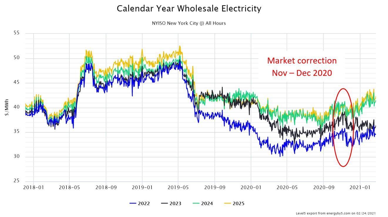 Calendar Year Wholesale Electricity NYISO New York City (J)