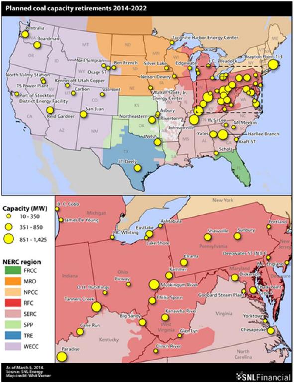 Planned Coal Capacity Retirement 2014-2022