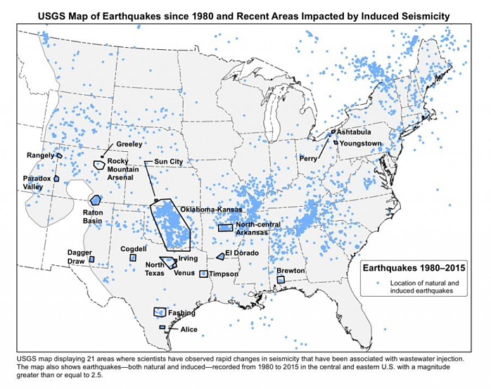 USGS Map of Earthquakes since 1980 and Recent Areas Impacted by Induced Seismicity