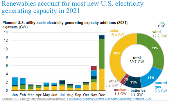 Planned US Utility-Scale Electricity Generating Capacity Additions (2021)