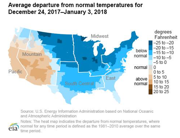 Average departure from normal temperatures for December 24, 2017