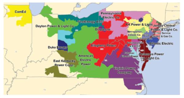 PJM territory map