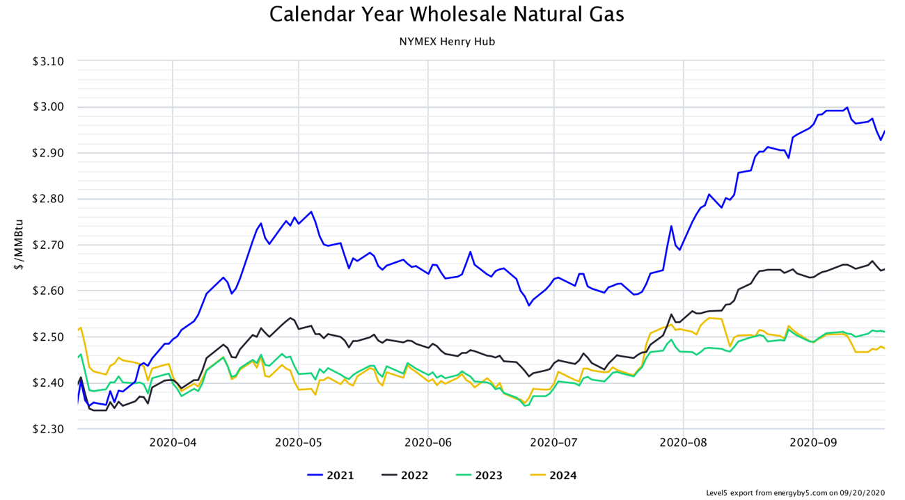 Calendar Year Wholesale Natural Gas NYMEX Henry Hub
